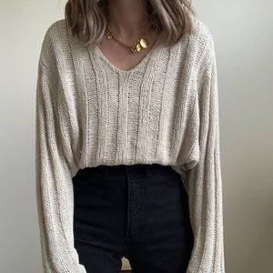 Vintage Sweaters - Stone Textured Silk Boxy Knit Pullover